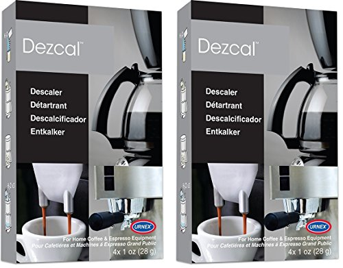 Urnex Dezcal Coffee & Espresso Descaler and Cleaner - 2 Pack - Activated Scale Remover Use With Home Coffee Brewers Espresso Machines Pod Machines Capsule Machines Kettles Garmet Steamers by Urnex