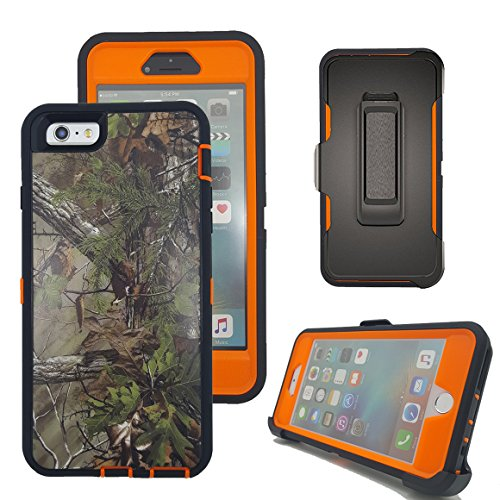 iPhone 6s Case, Harsel Defender Series Heavy Duty Tree Camouflage Impact Tough Armor Hybrid Hybrid Military w/Belt Clip Screen Protector Case Cover for Apple iPhone 6s / iPhone 6 (Forest/Orange)