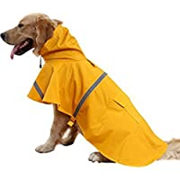 NACOCO Large Dog Raincoat Adjustable Pet Water Proof Clothes Lightweight Rain Jacket Poncho Hoodies with Strip…
