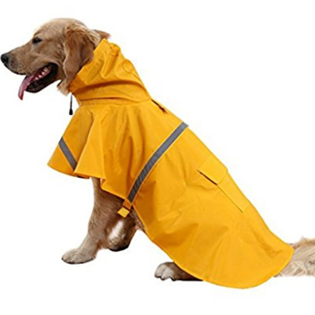 NACOCO Large Dog Raincoat Adjustable Pet Water Proof Clothes Lightweight Rain Jacket Poncho Hoodies with Strip Reflective (XXL, Yellow)...