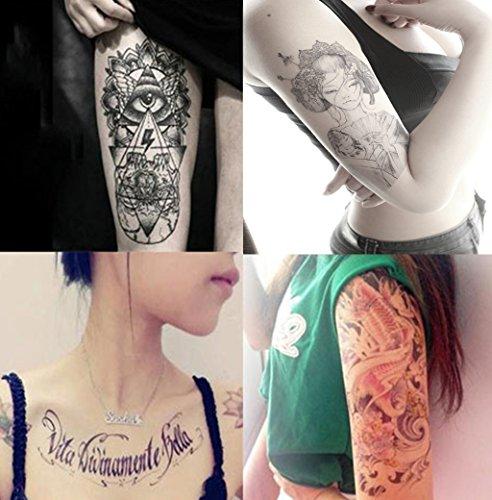 Dalin 4 Sheets Fashion Temporary Tattoos, Koi Fish, Words, Lady ()
