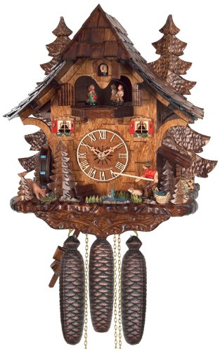 River City Clocks Eight Day Musical Cuckoo Clock Cottage, Fisherman Raises Pole and Moving Waterwheel