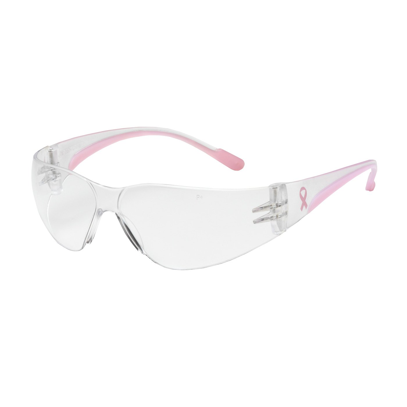 Eva Petite 250-11-0900 Rimless Safety Glasses with Clear/Pink Temple, Clear Lens and Anti-Scratch Coating