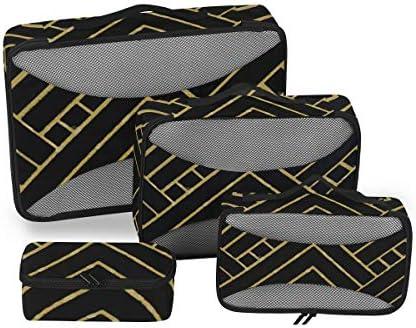 トラベル ポーチ 旅行用 収納ケース 4点セット トラベルポーチセット アレンジケース スーツケース整理 チェーンパターン 収納ポーチ 大容量 軽量 衣類 トイレタリーバッグ インナーバッグ