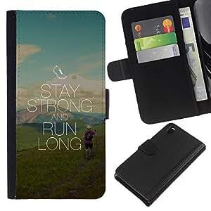 Planetar® Modelo colorido cuero carpeta tirón caso cubierta piel Holster Funda protección Para Sony Xperia Z3 D6603 ( Stay Strong And Run Long )