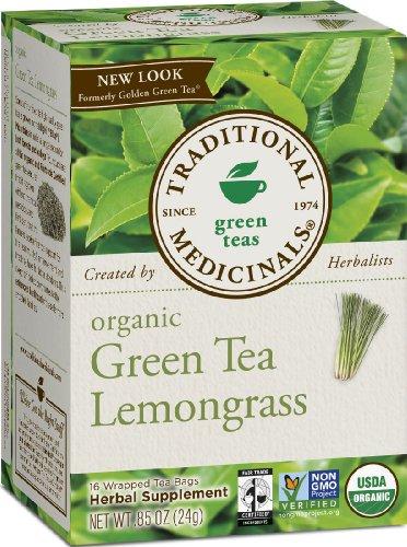 Традиционные Medicinals, Органический зеленый чай с лемонграсса, 16 счета, завернутые чайные пакетики (упаковка 6)