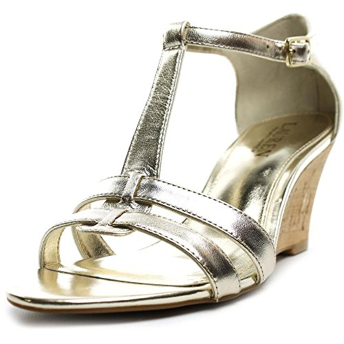 Lauren Ralph Lauren Harleen Women US 7.5 Gold Wedge Sandal (Ralph Lauren Gold Sandals)
