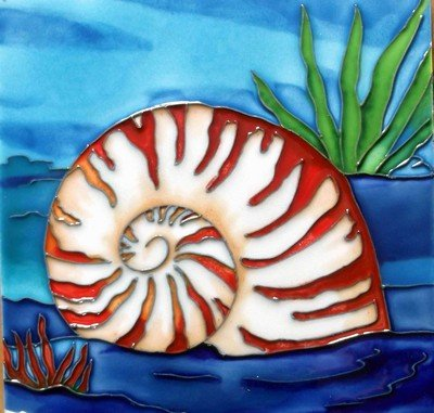 Decorative Art Tile - Nautilus Shell Decorative Ceramic Wall Art Tile 4x4