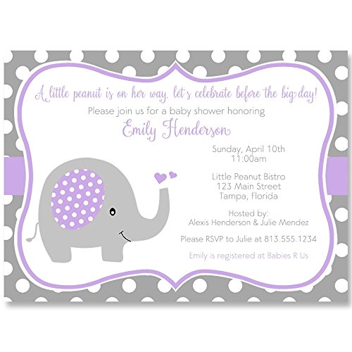 Elephant, Baby Shower Invitations, Sprinkle, Girls, Purple, Gray, Polka Dots, 10 Printed Invites with White Envelopes, Custom ...