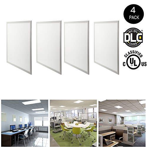 HIKETOLIGHT LED Panel Light 2x2 FT, 40W (120W Equivalent)Troffer Flat Panel Ultra Thin Commercial Drop Ceiling Edge-Lit Dimmable Lamp Fixture 5000lm DLC Premium 4.2 Qualified-4Pack,4000K