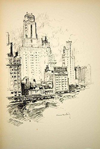1928 Photolithograph Bush Tower Bryant Park West 42nd St. NYC Vernon Bailey NYS1 - Orig. - Park 42nd Bryant