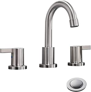 2 Handle 3 Hole 8 inch Widespread Bathroom Faucet with Metal Pop-Up Drain By Phiestina, Brushed Nickel, WF015-1-BN