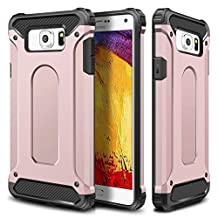 Galaxy S6 Case,Wollony Rugged Hybrid Dual Layer Armor Protective Back Case Shockproof Cover for Galaxy S6 - Heavy Duty - Slim Hard Shell Protection - Impact Resistant Bumper (Rose Gold)