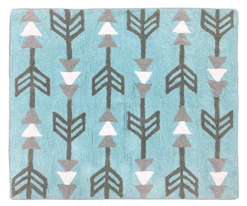 Turquoise Blue and Gray Earth and Sky Accent Floor Rug