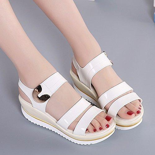 Shoes Espesor de Verano Pendiente con Sandalias Damas Estudiantes Tacones Sandalias Impermeable Zapatos Planos Blanco