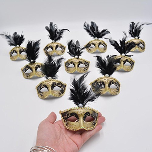 Yiseng Mini Masquerade Mask Party Decorations 12pcs Pack Black Feather Mardi Gras Small Venetian Mask Decor Party Favors for $<!--$19.90-->