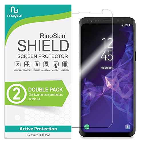 [2-Pack] RinoGear for Galaxy S9 Screen Protector [Active Protection] (Edge-to-Edge) Flexible HD Crystal Clear Anti-Bubble Film