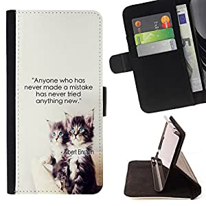 DEVIL CASE - FOR Apple Iphone 6 - Mistakes Einstein Quote Try New Things - Style PU Leather Case Wallet Flip Stand Flap Closure Cover