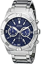 GUESS Men's U0377G2 Silver-Tone Chronograph Watch with Iconic Blue Dial