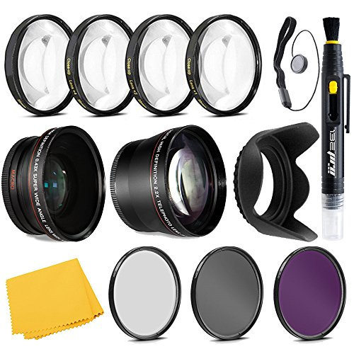 Professional 67mm 0.43x Wide Angle Lens + 2.2x Telephoto Lens + 3 Pieces Filter Set + 4Pc Close Up Lens + Lens Hood with Accessories Kit For All Canon, Nikon, Sony, Panasonic, Olympus, Pentax ,Cameras