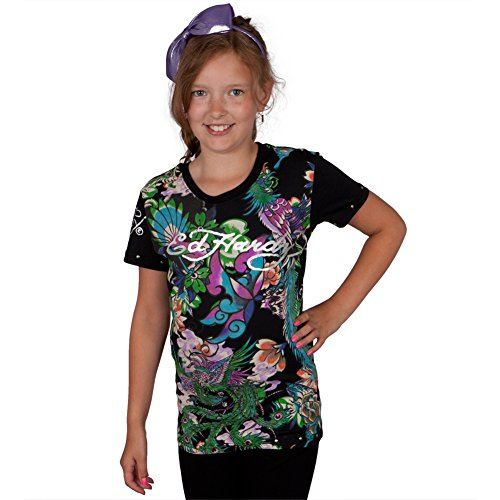 (Ed Hardy - Dragon & Bird Collage Girls Youth T-Shirt - Youth)