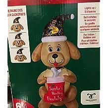 Christmas Inflatable Animated Labrador Retriever Dog (Santa's Hunting Buddy) Holding Stocking Wearing a Camo Santa Hat