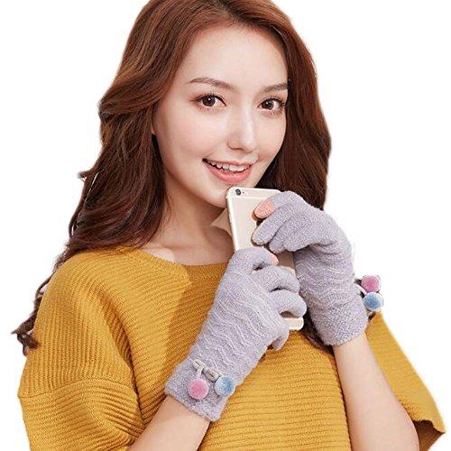 乳火薬難しいTokuonn レディース 手袋 ニットグローブ 裏起毛 リボン飾り スマホ対応 厚手 暖かい アウトドア 秋冬