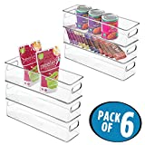 mDesign Kitchen Storage Organizer Bins for Refrigerator, Freezer, Pantry - Pack of 6, 4'' x 4'' x 14.5'', Clear