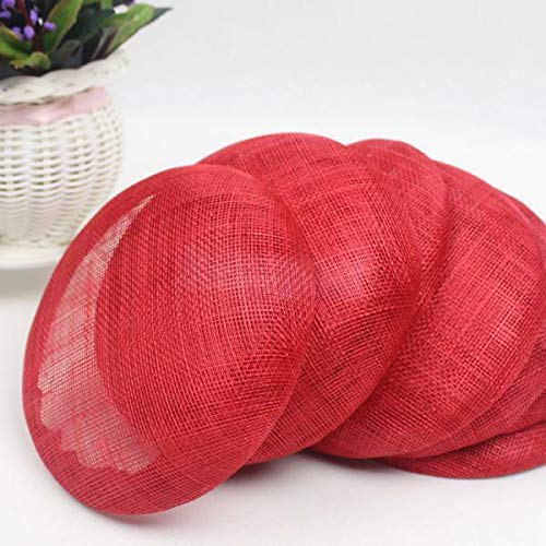 (Sinamay Solid Color Millinery Cap Base Craft Hat Trims Fascinators Hat DIY | Color - Red)