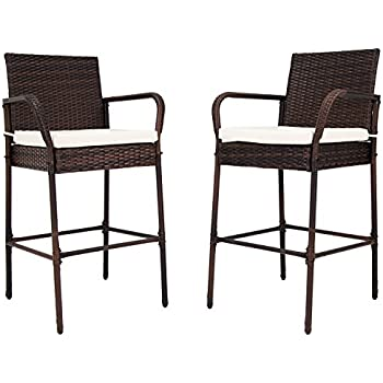 This Item Kinbor Set Of 2 Patio Outdoor Wicker Barstool Set Pool Furniture High  Chair Brown W/Free Cushions