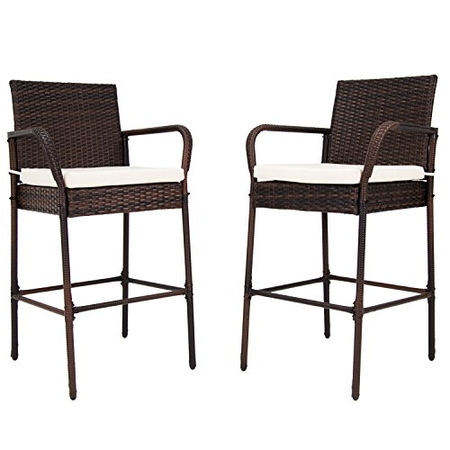 Kinbor Set of 2 Patio Outdoor Wicker Barstool Set Pool Furniture High Chair Brown w/Free Cushions (Bar Style Stools Wicker)