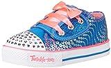 Skechers Kids Shuffles Bohemian Bloom Light-Up Sneaker (Toddler/Little Kid),Blue/Neon Pink,10 M US Toddler