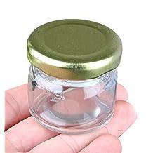TOPWEL 3pcs 25ml Mini Clear Glass Storage Jar Airtight Canister by TOPWEL
