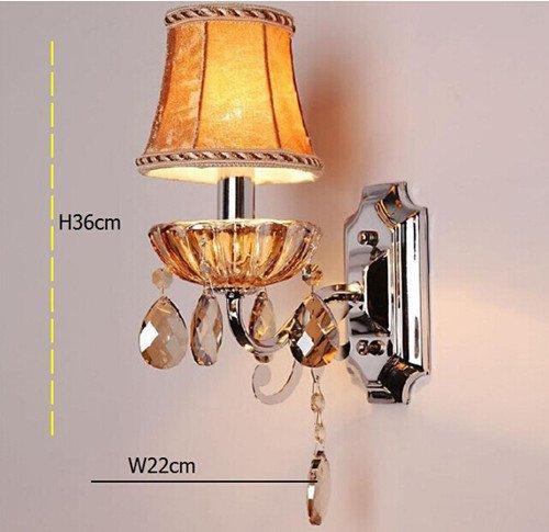 5151BuyWorld Luxuxkristallglas Wandleuchte Lampe Single Head oder 2 Leuchten gelbes Tuch Lampshade Flur Schlafzimmer Hotel Laternen H36cm [weiß]