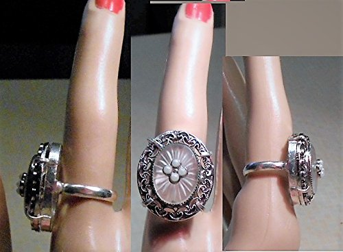 (Whiting Davis Camphor Glass Ring Vintage Silver Plate Camphor Glass Ring Size 6. Seed Pearls Accent. One of A Kind. Bridal)