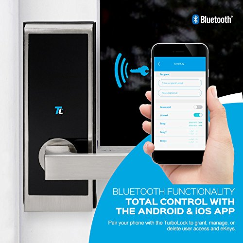 TurboLock TL-100 Bluetooth Smart Lock with in-App Monitoring, Sending and Managing Unlimited eKeys; Weather Sealed, Keyless, Includes Mini Keycards (Brushed Nickel)