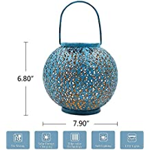 TAKEME Solar Lantern, Outdoor Garden Lights,Metal Waterproof LED Hanging Lights Decorative Lamp for Patio,Outside,Table … (Blue) (Blue)