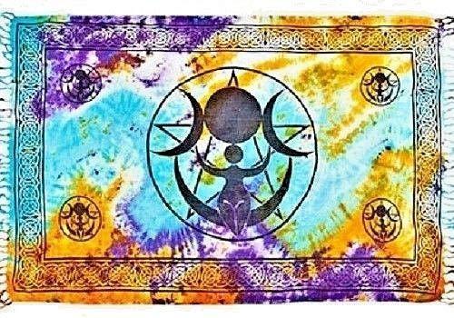 - Triple Moon Goddess in Tie Dye Altar Cloth 42 inch x 72 inch