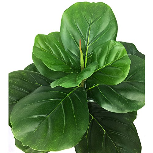 BESAMENATURE Artificial Fiddle Leaf Fig Tree, Potted Artificial Plant for Home Decor, 22'' Tall, Green