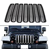 VVHOOY 7Pcs Front Grill Mesh Grille Insert Kit for Jeep Wrangler JK&Rubicon Sahara & Unlimited 2007-2018 (Black)