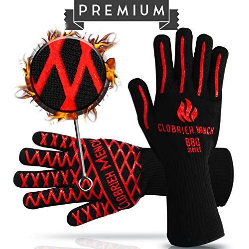 Clobrieh Mench BBQ Extreme Heat Resistant 932°F (500°C) Gloves - 14 Long Forearm Safety & 100% Meta-Aramid Oven Mitts for Grilling, Cooking | EN407 | One Size Fits All - Black Colour - Set of 2