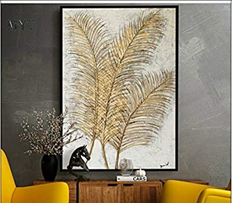 Oil Painting On Canva,Golden Luxury Line Leaf Plant,100