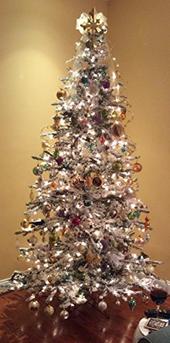 7'6'' Flocked Bavarian Pine, Artificial Prelit White Christmas Tree - Clear Lights Stay on if Bulb Burns Out! Natural Looking with Real-Like-Snow Color - Top Choice for Designers, Includes Storage Bag by Fine Expectations (Image #6)