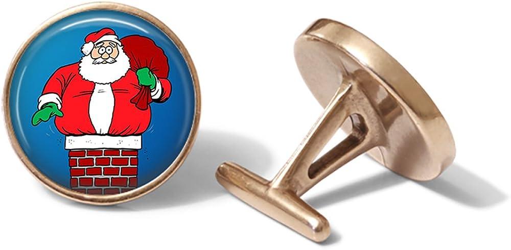 Christmas Cufflinks Santa Cuff Links Solid Bronze