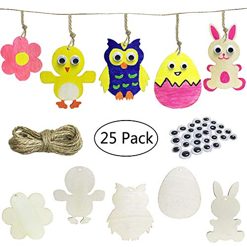 Cocostar 25PCS in Set Unfinished Wooden Cutouts Banner Favor Tags Gift Tags Treats Tags for DIY Kids Cards Wedding Decorations with Owl &Bunny&Chick&Egg&Flower Strings Googly Wiggle Eyes ()