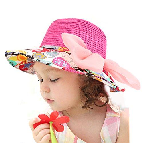 LOCOMO Children Kid Girl Cute Colorful Ribbon Bow Wide Brim Straw Hat FBH005PNK