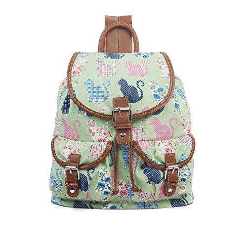 YDezire? Kid/Teenager Multi Cats Canvas Backpack Rucksack Shoulder Bag-Back To School Green