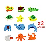 24 Pcs(2 Pack) Mixed Cartoon Lovely Kitchen Fridge Magnet Wooden Baby Kid Educational Toy,For Preshcool Kids Learning skills