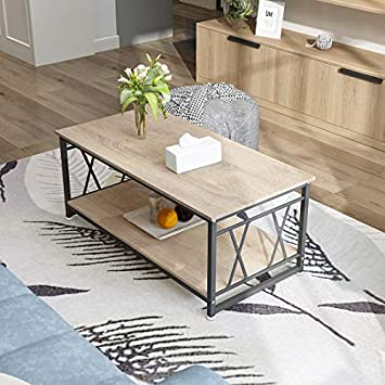 Coffee Table with Storage Shelf Industrial Modern Rustic 47 Coffee Table for Living Room Coffee Table, Light Wood Grain