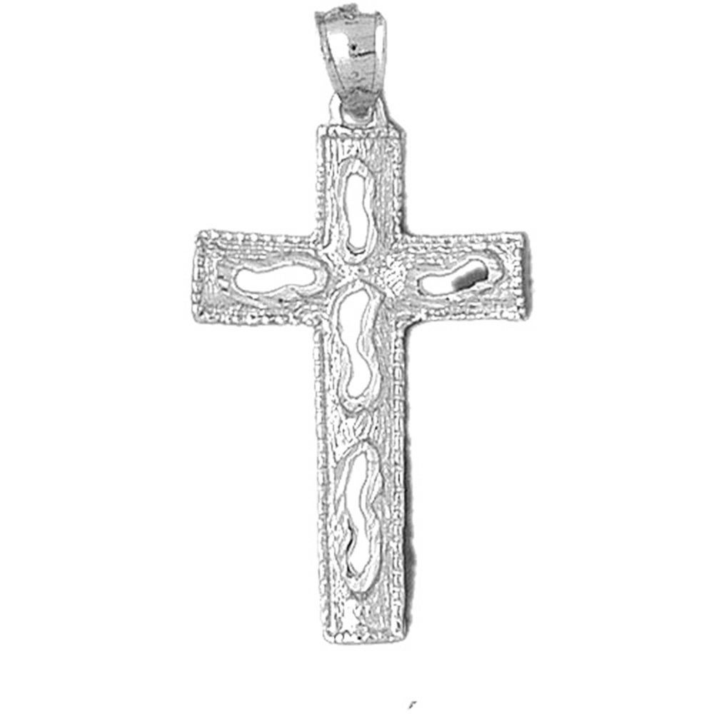 Jewels Obsession Silver Cross Necklace Rhodium-plated 925 Silver Latin Cross Pendant with 18 Necklace